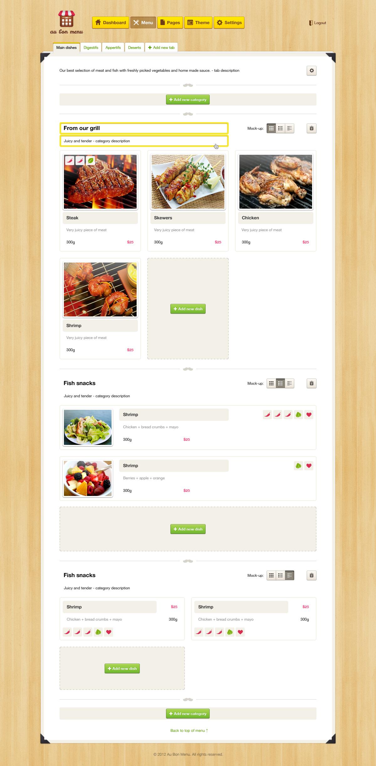 Aubon menu dashboard
